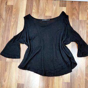 AMADI Linen Black Cold Shoulder Knit Boxy Top EUC